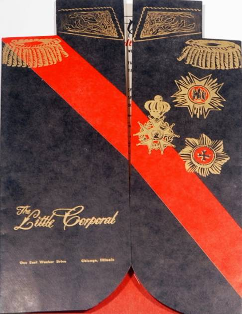 THE LITTLE CORPORAL RESTAURANT - ONE EAST WACKER - MENU COVER - 1964