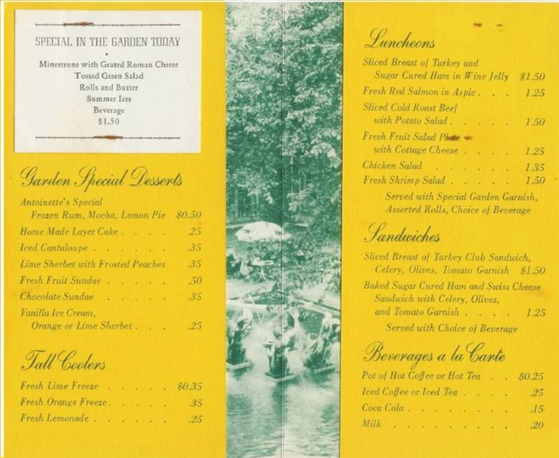 ART INSTITUTE - THE GARDEN - MENU INSIDE - c1960