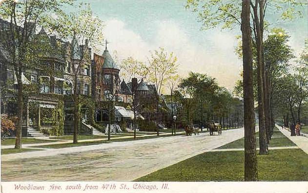 WOODLAWN AVE - SOUTH FROM 47TH - HOUSES, PLEASANCE, WAGON - EARLY