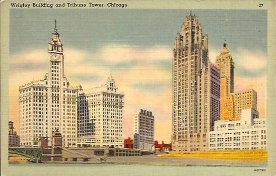 WRIGLEY BUILDING AND TRIBUNE TOWER - FROM RIVER LEVEL - c1950