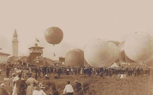 BALLOON RACE - CROWD WATCHING - APPERS TO BE WHITE CITY AMUSEMENT PARK IN BACKGROUND - SEPIA - 1908