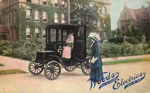 CHICAGO WOODS ELECTRIC CAR - TWO WOMEN IN FRONT OF MANSION - 1912
