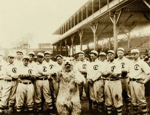 PHOTO - CHICAGO - CHICAGO CUBS AND THEIR MASCOT - STANDS BEHIND - SEPIA - 1908