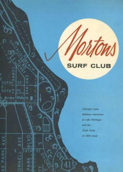 MENU - MORTON'S SURF CLUB RESTAURANT - 56TH AND OUTER DRIVE - COVER - 1950s