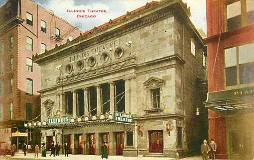 POSTCARD - CHICAGO - ILLINOIS THEATRE - ADJOINING BUILDINGS - PEDESTRIANS - c1910