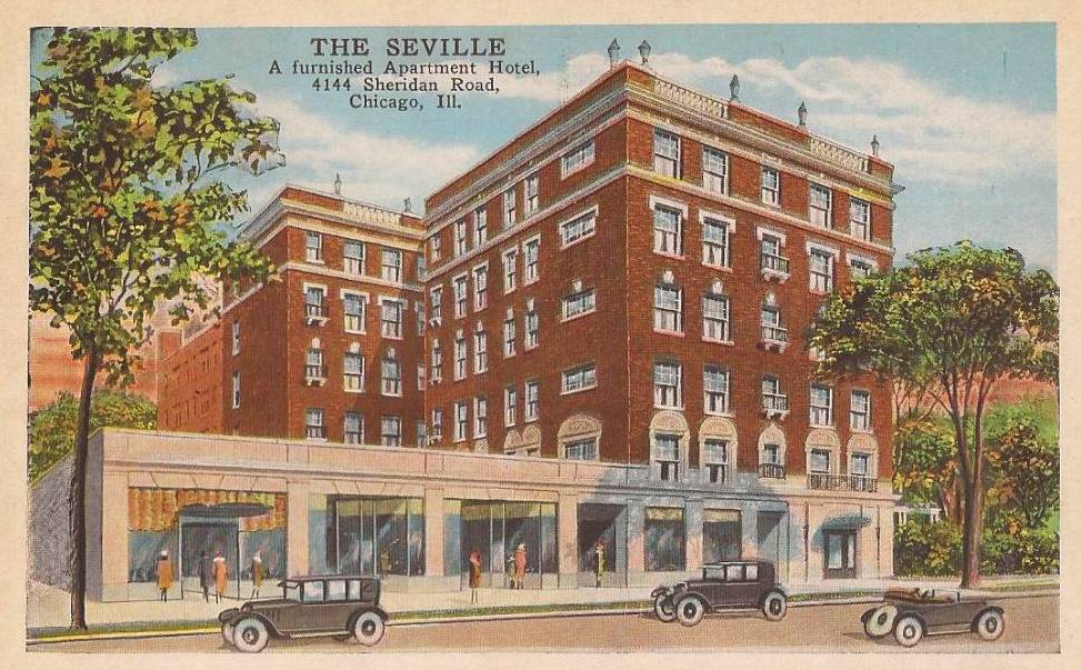 Postcard chicago the seville apartment hotel 4144 for Appart hotel seville