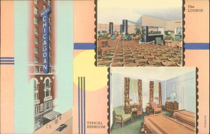 POSTCARD - CHICAGO - HOTEL CHICAGO - 3 IMAGES - FRONT - BEDROOM - LOUNGE - ART DECO FRAME