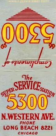MATCHBOOK - CHICAGO - THE SUPER SERVICE STATION - 5300 N WESTERN AVE