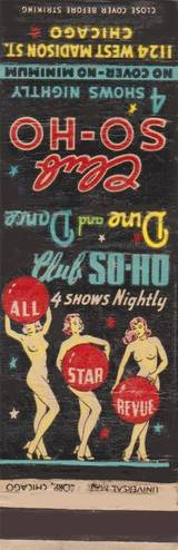 MATCHBOOK - CHICAGO - CLUB SO-HO - 1124 W MADISON - 4 SHOWS NIGHTLY