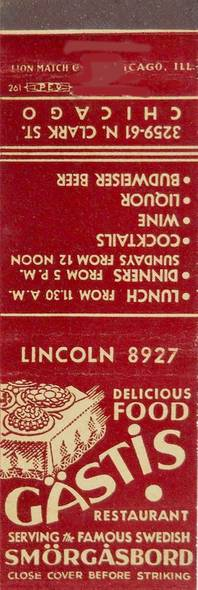 MATCHBOOK - CHICAGO - GASTIS RESTAURANT - 3259-61 N CLARK - SERVING THE FAMOUS SWEDISH SMORGASBORD