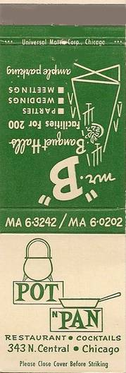 MATCHBOOK - CHICAGO - POT N PAN RESTAURANT - 343 N CENTRAL