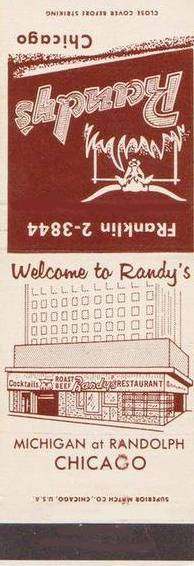 MATCHBOOK - CHICAGO - RANDY'S RESTAURANT - MICHIGAN AT RANDOLPH