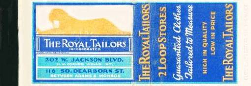 MATCHBOOK - CHICAGO - ROYAL TAILORS - 21 LOOP STORES