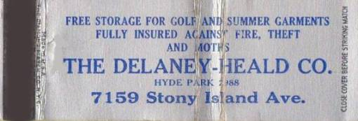 MATCHBOOK - CHICAGO - THE DELANEY-HEALD COMPANY - STORAGE - 7159 STONY ISLAND AVE
