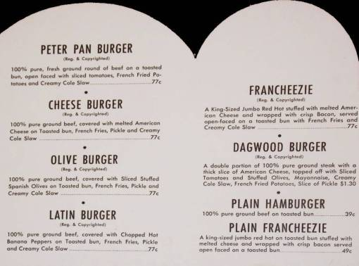 MENU - CHICAGO - PETER PAN SNACK SHOP RESTAURANTS - INSIDE PORTION - HAMBURGERS WE LOVED  - 1952