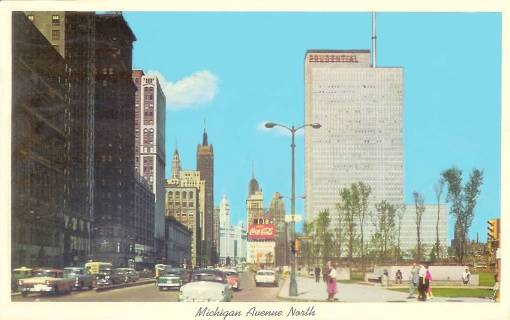 POSTCARD - CHICAGO - MICHIGAN AVE - LOOKING N FROM NEAR ADAMS - c1960