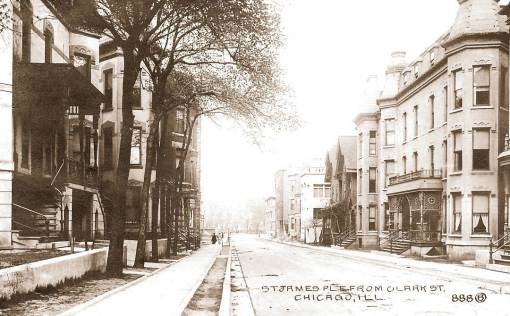 POSTCARD - CHICAGO - ST JAMES PLACE - FROM CLARK - APARTMENT BUILDINGS - c1910