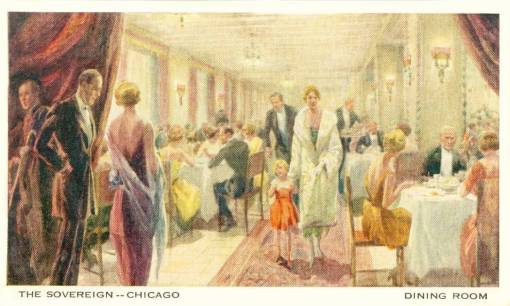 POSTCARD - CHICAGO - THE SOVEREIGN RESTAURANT - CROWDED WITH STYLISH PEOPLE - 1920s