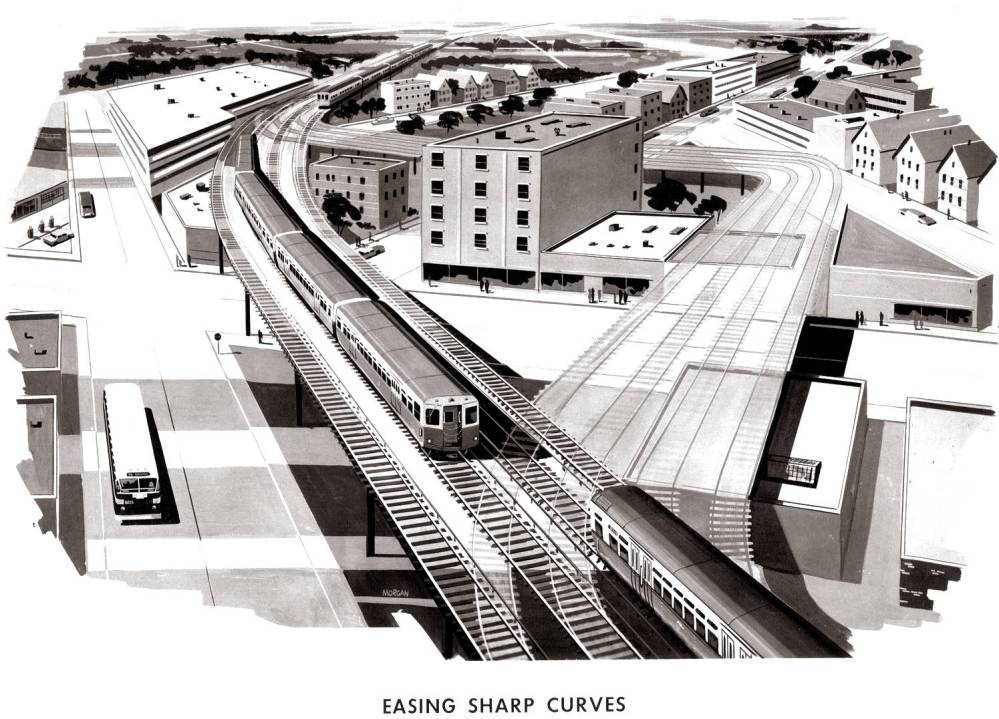 DRAWING - CHICAGO - CTA RAPID TRANSIT - AERIAL - PLANNING DRAWING FOR EASING SHARP CURVES ON STRUCTURE - 1958