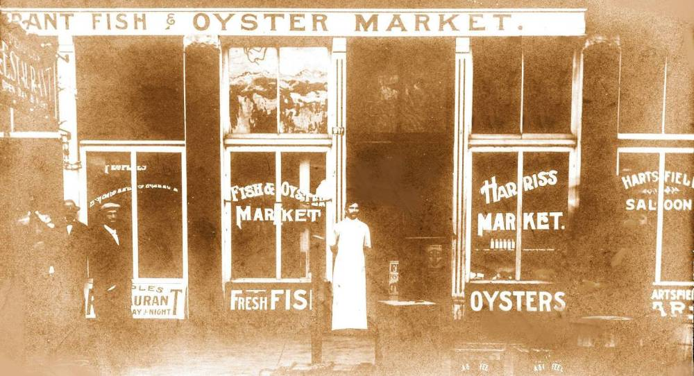 PHOTO - CHICAGO - GRANT FISH MARKET - HARTSFIELD SALOON - PEOPLES RESTAURANT - EARLY