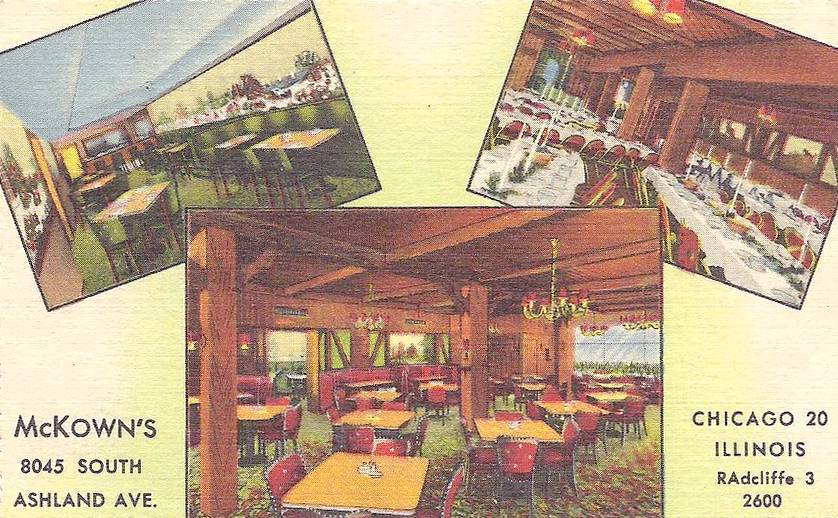 POSTCARD - CHICAGO - MCKOWN'S RESTAURANT - 8045 S ASHLAND - 3 INTERIOR IMAGES - c1950