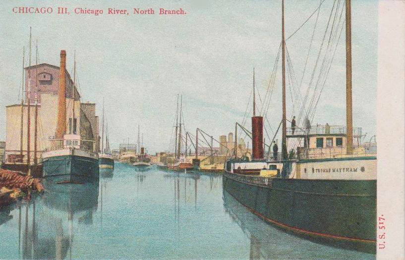 POSTCARD - CHICAGO - CHICAGO RIVER NORTH BRANCH - STEAMERS AND SAIL SHIPS - c1910