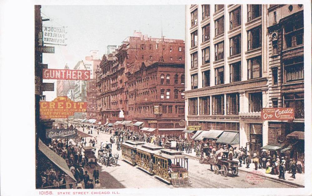 POSTCARD - CHICAGO - STATE STREET - EDELWEISS - GUNTHER'S - TRAM - CROWDS - 1908