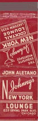 MATCHBOOK - CHICAGO - JOHNNY'S NEW YORK LOUNGE - 833 IRVING PARK - THE EXQUISITE NIGHTSPOT