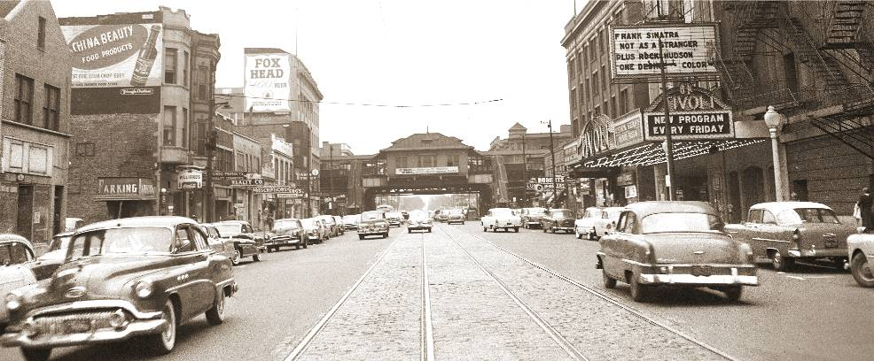 PHOTO - CHICAGO - COTTAGE GROVE AVE - LOOKING S - TIVOLI THEATER ON RIGHT 6328 S COTTAGE GROVE - OPENED 1921 - 1955