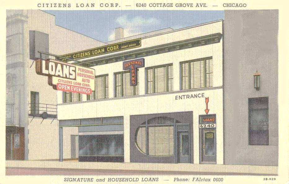 POSTCARD - CHICAGO - CITIZENS LOAN CORPORATION - 6240 COTTAGE GROVE - 1940s