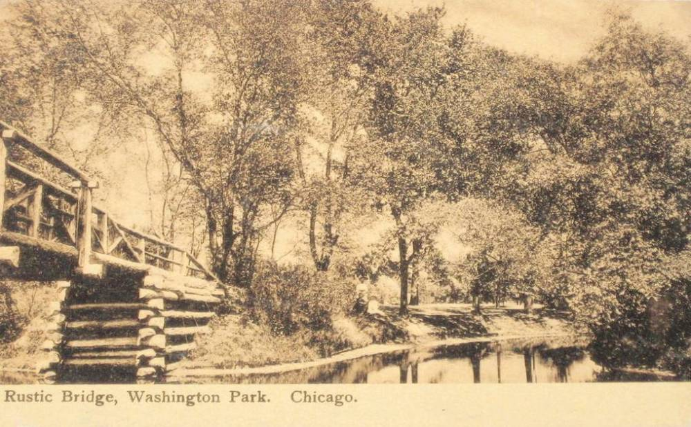 POSTCARD - CHICAGO - WASHINGTON PARK - RUSTIC BRIDGE - 1906