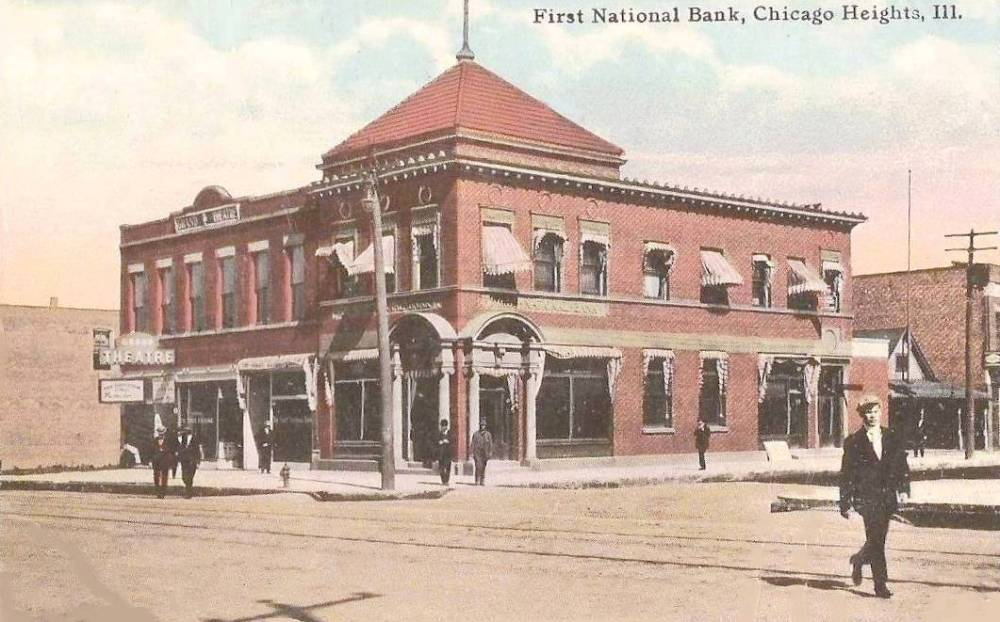 POSTCARD - CHICAGO - FIRST NATIONAL BANK CHICAGO HEIGHTS - NOTE GRAND THEATRE - 1912