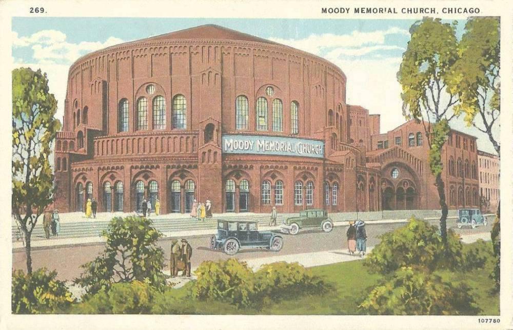POSTCARD - CHICAGO - MOODY MEMORIAL CHURCH - 1618 N CLARK - SEATS 4100 - 1920s