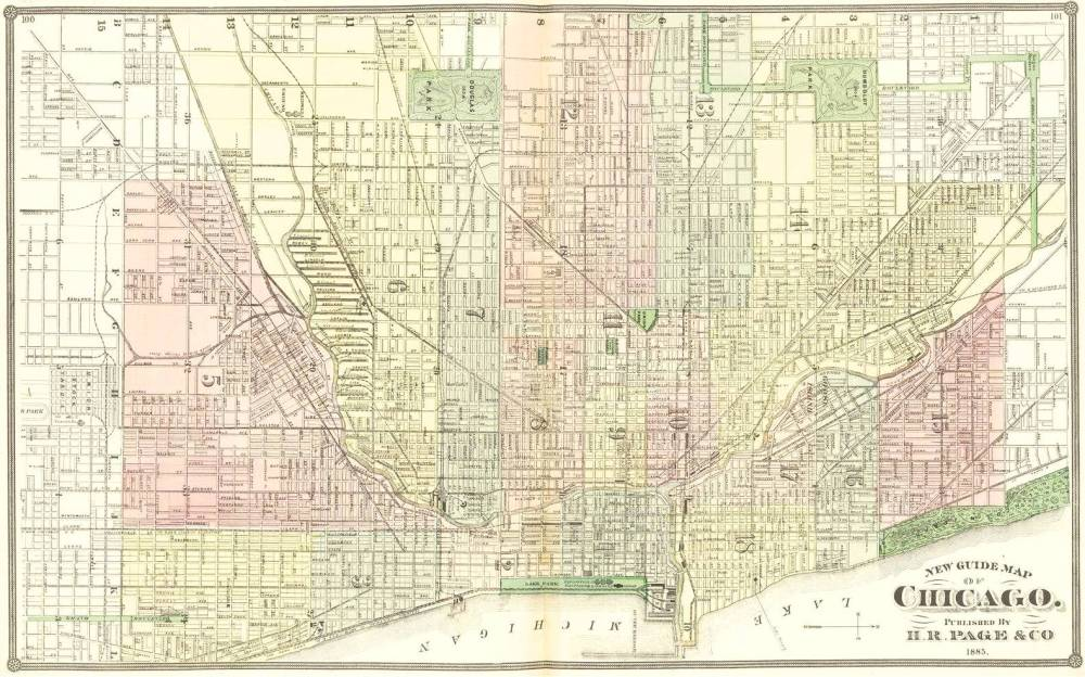 MAP - CHICAGO - GUIDE MAP - 1885