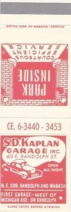 MATCHBOOK - CHICAGO - S. D. KAPLAN GARAGE - 60 E RANDOLPH - OPEN ALL NIGHT