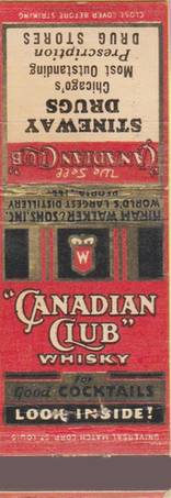 MATCHBOOK - CHICAGO - STINEWAY DRUG STORES - CANADIAN CLUB WHISKY