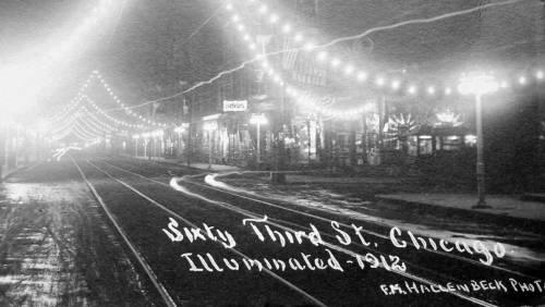 POSTCARD - CHICAGO - 63RD STREET - NIGHT - ILLUMINATION - 1912