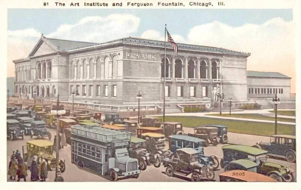 POSTCARD - CHICAGO - ART INSTITUTE AND FERGUSON FOUNTAIN (LORADAO TAFT'S GREAT LAKES) - 1920s