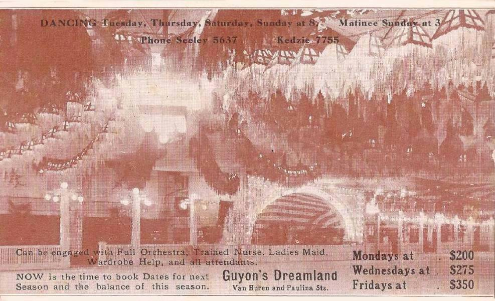 POSTCARD - CHICAGO - GYON'S DREAMLAND - VAN BUREN AND PAULINA - DANCING - ENGAGE WITH ORCHESTRA NURSE MAID AND ALL ATTENDANTS