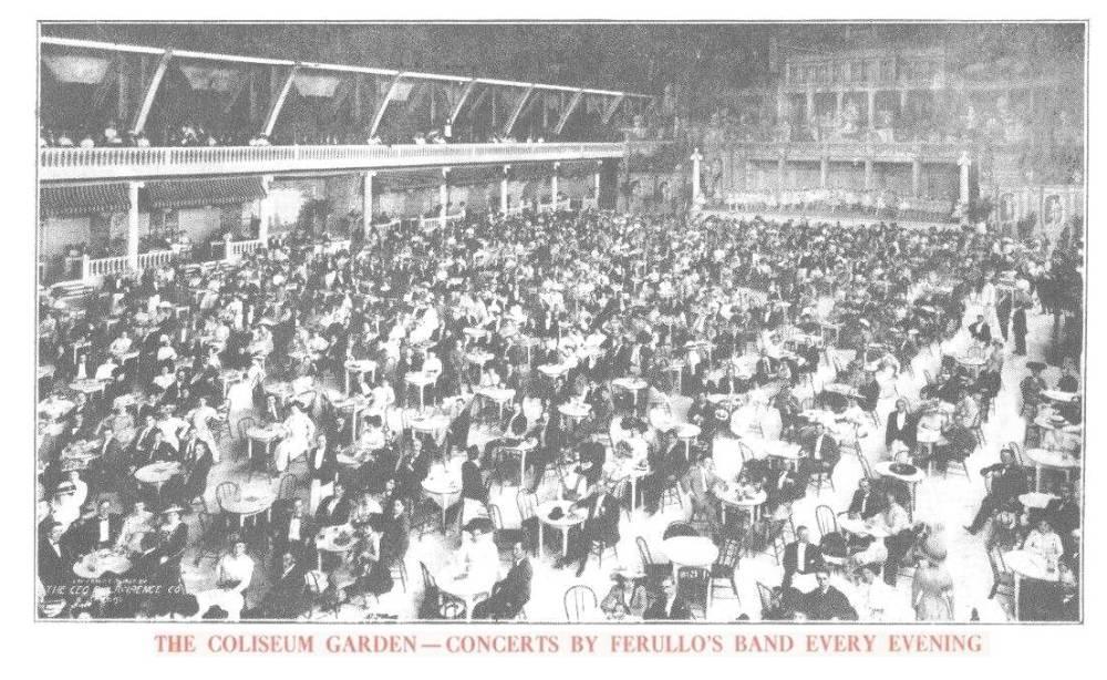 POSTCARD - CHICAGO - COLISEUM GARDEN - EVERY EVENING - FERULLO'S BAND - HUGE CROWD - 1909