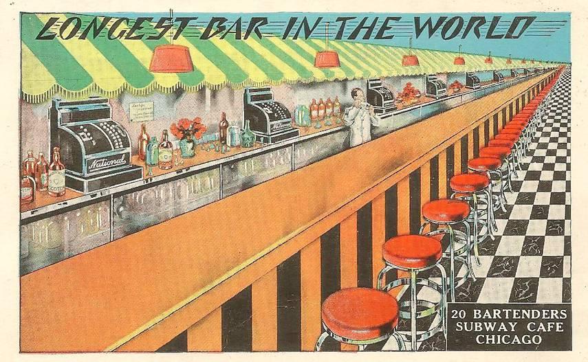 POSTCARD - CHICAGO - SUBWAY CAFE - N WABASH - LONGEST BAR IN THE WORLD - 20 BARTENDERS