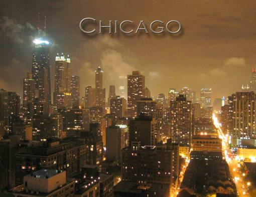 POSTER - CHICAGO - SKYLINE - AERIAL - NIGHT - FAIRLY CONTEMPORARY