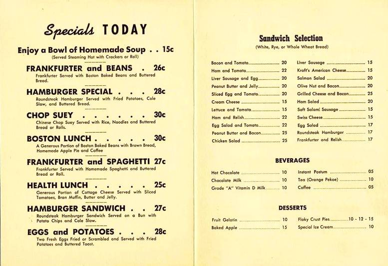 MENU - CHICAGO - PIXLEY AND EHLERS 15 RESTAURANTS - INSIDE - SPECIALS - 1940s