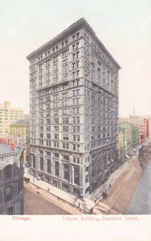 POSTCARD - CHICAGO - TRIBUNE BUILDING (EARLY ONE) - DEARBORN STREET - PRE-1910