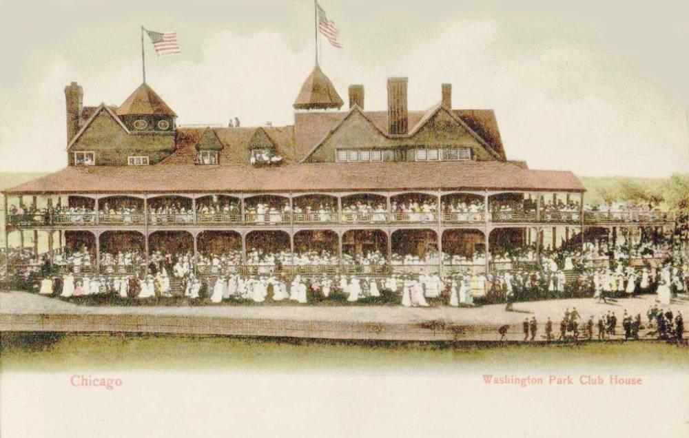 POSTCARD - CHICAGO - WASHINGTON PARK - CLUB HOUSE - HUGE CROWD - c1910