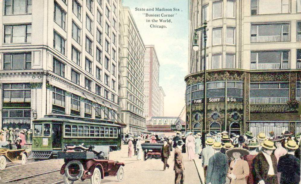 POSTCARD - CHICAGO - STATE AND MADISON - CARSON PIRIE SCOTT - MANDEL BROTHERS - TINTED - 1910s