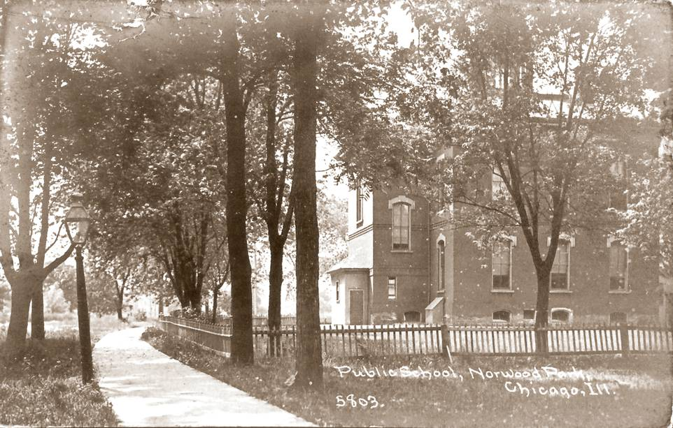 POSTCARD - CHICAGO - NORWOOD PARK PUBLIC SCHOOL - 1913