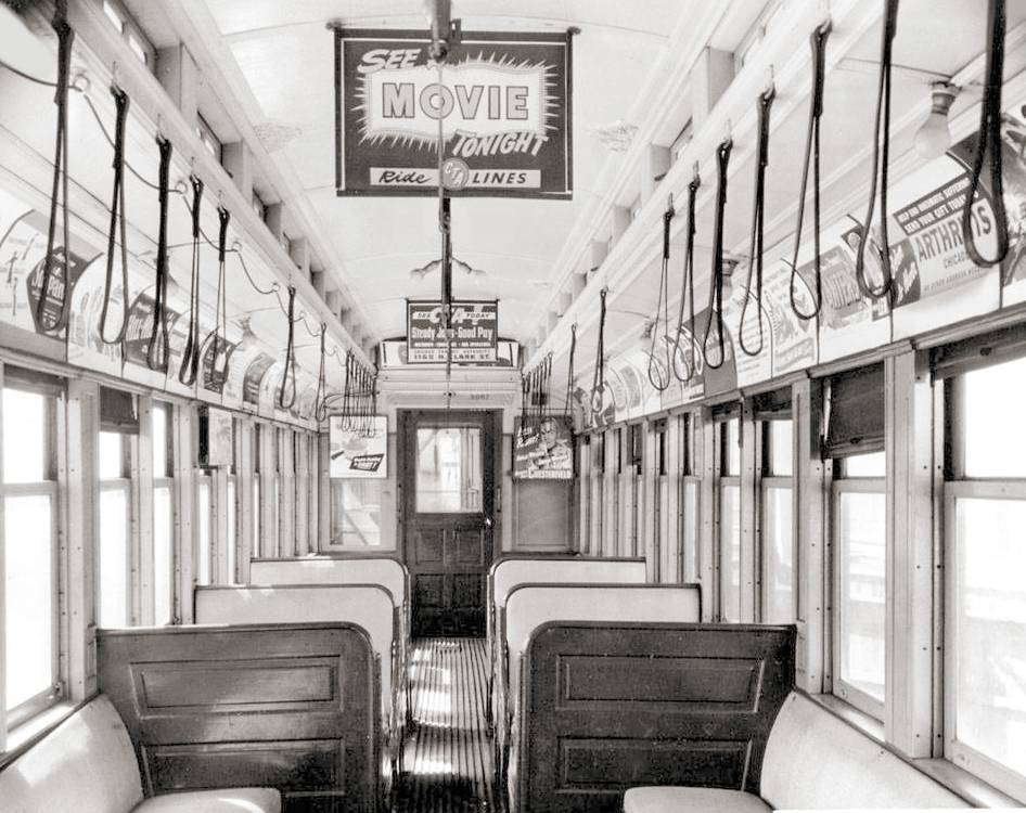 PHOTO - CHICAGO - CTA RAPID TRANSIT - CAR INTERIOR  - NOTE ADS AND LEATHER HOLDING STRAPS - 1951