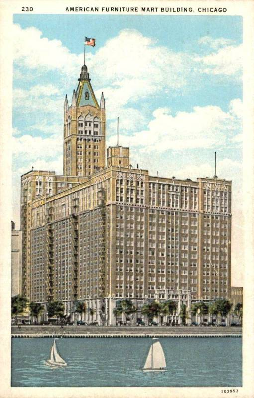 POSTCARD - CHICAGO - THE AMERICAN FURNITURE MART - 666 LAKE SHORE - SEEN FROM LAKE - THEN SAID TO BE LARGEST STRUCTURE IN THE WORLD - 1933