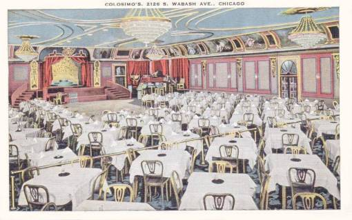 A  POSTCARD - CHICAGO - COLOSIMO'S RESTAURANT - 2126 S WABASH - DINING ROOM - TINTED - c1930